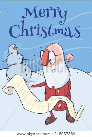 Christmas card of funny hatless Santa Claus in glasses reading a long scroll and snowman. Vector character illustration.