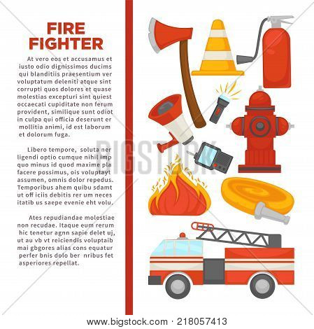 Fireman profession and fire secure protection poster of fire extinguishing equipment tools. Vector flat design of fire extinguisher, water hydrant and hose, alarm siren and axe