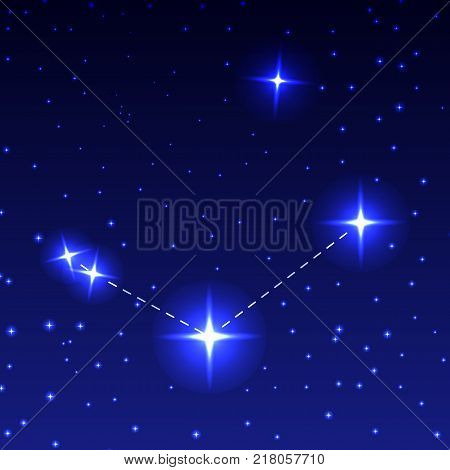 The constellation Canes venatici in the night starry sky. Vector illustration of the concept of astronomy