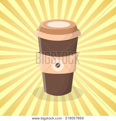 Coffee to go - cute cartoon colored picture. Graphic design elements for menu, packaging, advertising, poster, brochure. Vector illustration of fast food for snackbar, cafe or restaurant