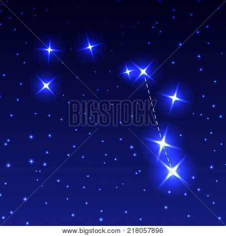 The Constellation Compass in the night starry sky. Vector illustration of the concept of astronomy