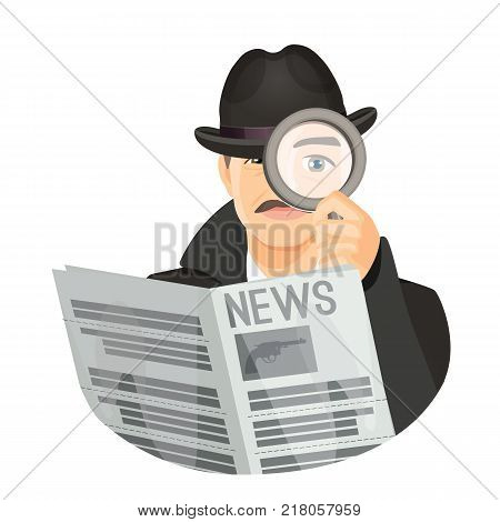 Detective in retro black hat and coat with mustaches holds fresh newspaper and looks through magnifier isolated cartoon flat vector illustration.
