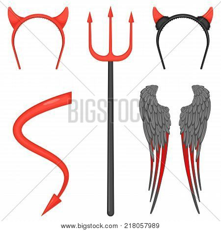 Horns on hoop, big trident, huge wings with grey and red feathers, long tail with arrow on end. Devil costume accessories vector illustrations set.