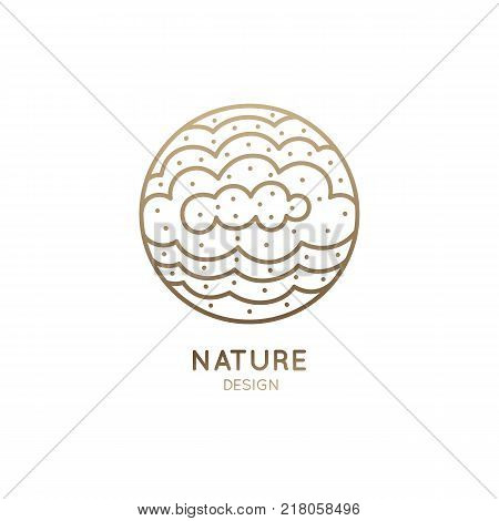 Vector logo of clouds. Linear round icon of overcast. Minimal logotype for business emblems, badge for a travel, tourism and ecology concepts.