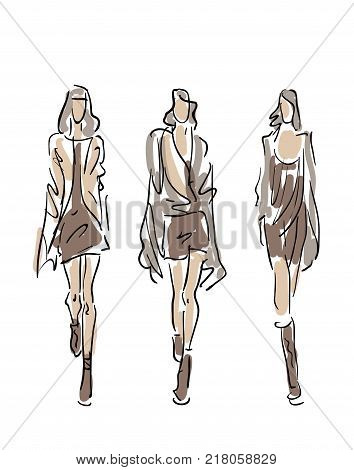 Sketched Fashion Women Models - vector illustration