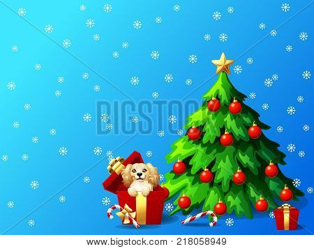 A cute dog of Cocker Sapniel breed in a red box and a fir-tree with jewelry and a Candy cane on blue background with snowflakers A vector illustration in cartoon style.