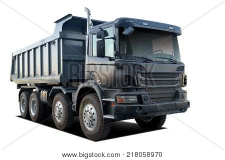 photo of huge dump truck, with isolated white background
