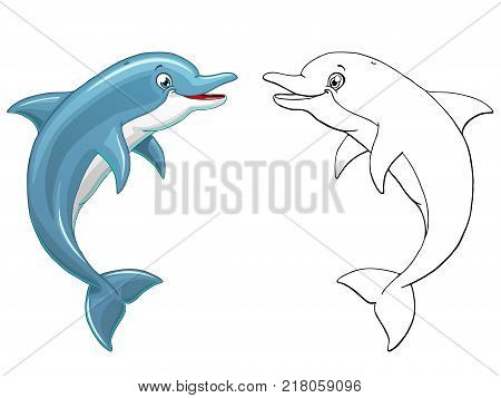 The lovely cheerful smiling dolphin jumps over water colorful and outline. Cartoon vector illustration isolated on white. Page of a coloring.