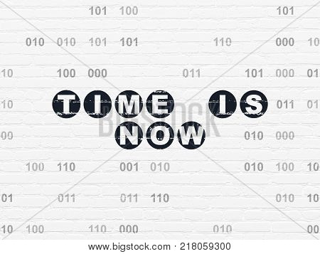 Time concept: Painted black text Time is Now on White Brick wall background with Binary Code