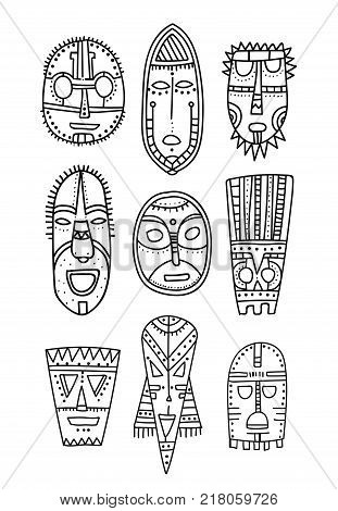 Set of hand drawn ethnic masks of the characters ancient gods. Black outline. Elements for coloring book and your design