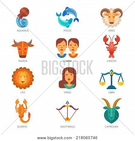 Zodiac signs vector astrology zodiacal symbol or astrological calendar in horoscope aquarius scorpio aries virgo pisces taurus and libra illustration isolated on white background.