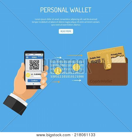 Crypto currency technology concept. Hand holds mobile phone with cryptocurrency bitcoin for trading, buying, selling, mining bitcoins and transfer to personal wallet. Isolated vector illustration