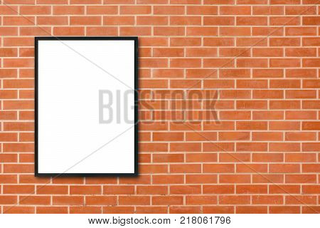 Mock up blank poster picture frame hanging on red brick wall background in room - can be used mock up for montage products display and design key visual layout. Mock up poster in interior background.