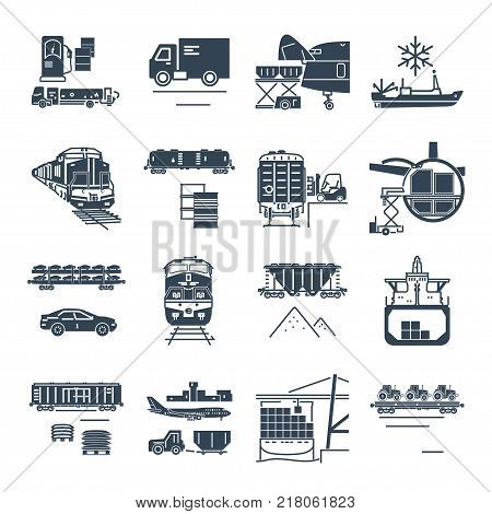 set of black icons freight transport process goods and cargo ship train airplane
