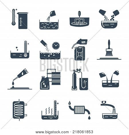 set of black icons household chemicals tool process