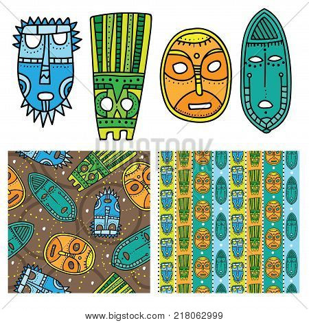 Set of ethnic seamless patterns with tribal african masks. Bright and colorful background for your design. Hand drawn style