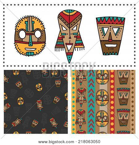 Set of ethnic seamless patterns with tribal african masks. Colorful elements and backgrounds for your design. Hand drawn style
