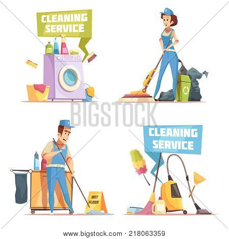 Cleaning service 2x2 design concept with employees of cleaning company washing indoor flat vector illustration