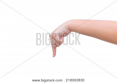 hand finger point down to select or choice gesture isolated on white