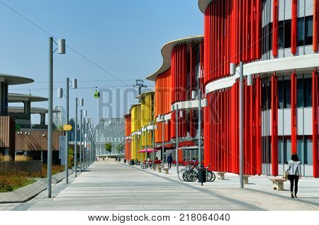 ZARAGOZA, SPAIN -September4, 2014: View on the colorful fasade of pavilion, edificio Dinamiza, from the international exposition 2008 in Zaragoza, Spain, September4, 2014