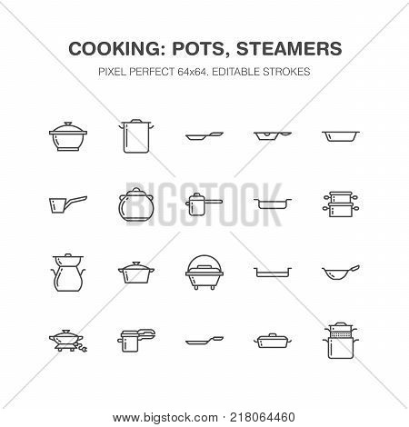Pot, pan and steamer line icons. Restaurant professional equipment signs. Kitchen utensil - wok, saucepan, eathernware dish. Thin linear signs for commercial cooking store. Pixel perfect 64x64.