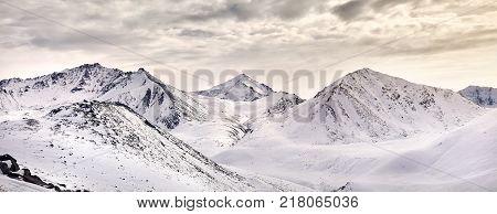 Panorama Of Snowy Mountains Of Kazakhstan
