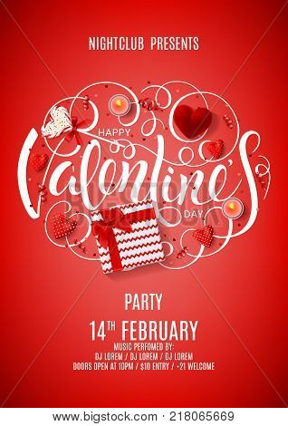 Flyer for Happy Valentine's Day Party. Top view on gift box, lollipop and case for ring on Red Background. Invitation to nightclub. Vector illustration with candles, confetti and serpentine.