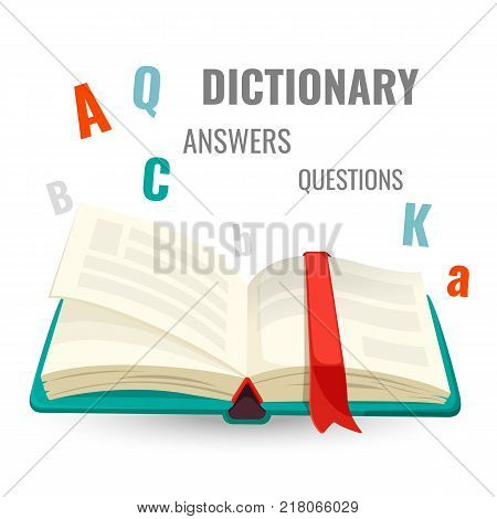 Dictionary with red bookmark and all answers to questions sign promo emblem with letters around isolated vector illustration on white background.
