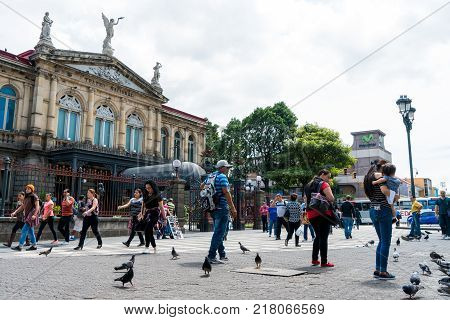 San Jose, Costa Rica - November 12: Afternoon Scene Of The Square In Front Of The Famous National Th