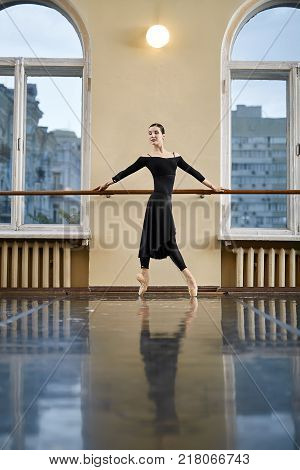 Beautiful ballerina with closed eyes stands on pointes and holds her hands on the ballet barre in the dance hall. She wears a black leotard with a skirt and leggings, light pointe shoes. Vertical.
