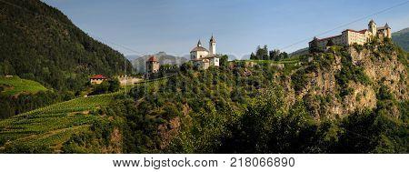 Sabiona Monastery at Chiusa (Klausen). Val Isarco, Bolzano, Trentino Alto Adige, Italy