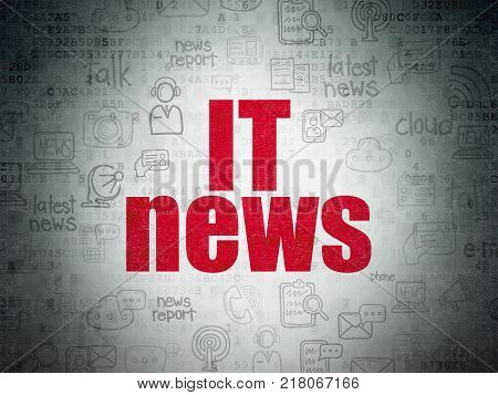 News concept: Painted red text IT News on Digital Data Paper background with   Hand Drawn News Icons
