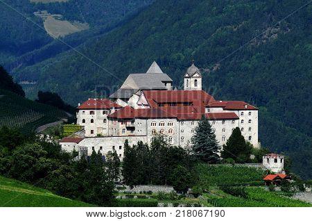 Sabiona Monastery at Chiusa (Klausen). Valle Isarco, Bolzano, Trentino Alto Adige. Italy