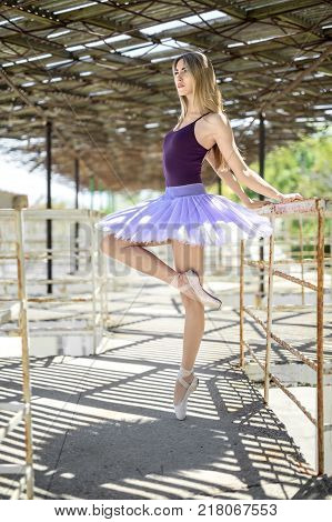 Beautiful ballerina stands sideways on the left toe on the concrete pier with metal handrails outdoors. She wears pointes, violet leotard with lilac tutu. Girl holds hands behinds on the handrail.