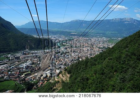 City of Bolzano, Italy - View of town from cableway