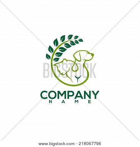 Pet shop label set. Animals, dog, cat, parrot icon or logo. Vector illustration isolated on white background