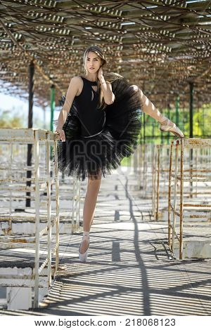 Charming ballerina with parted lips in a black tutu stands on the right leg on the concrete pier with metal handrails. She holds left leg and right hand on the handrails, left hand is on her neck.