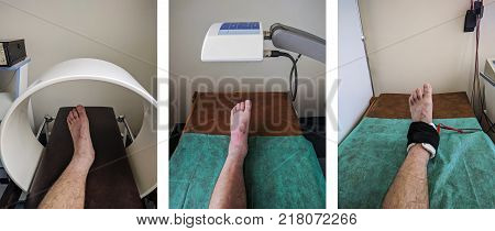 poster of Physical therapy set of exemplary ankle procedures: Magnet therapy Low level laser therapy Iontophoresis.