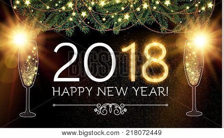 Happy New 2018 Year and Christmas Design Template with Champagne Glasses, Gold Effects, Fir Tree Branches, Bow, and Flash light.