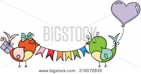 Scalable vectorial representing a cute birds birthday party, illustration isolated on white background.