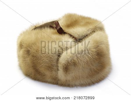 Fur cap winter isolated on a white background