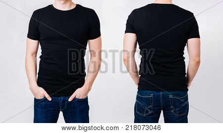 Man In Black Blank Tshirt On Gray Background