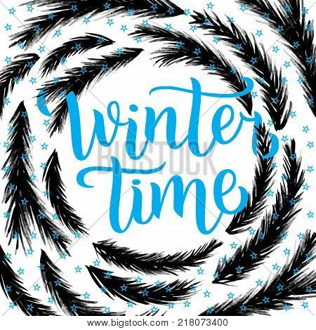 Winter time lettering design. Vector illustration, blue letters with christmas tree branches frame background. Happy New Year and Merry Christmas Seasonal Sale. Holiday winter off-price.