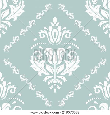Orient vector classic pattern. Seamless abstract background with white vintage elements. Orient background