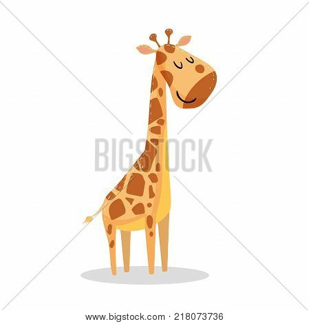 Cute cartoon trendy design little giraffe with closed eyes. African animal wildlife vector illustration icon.