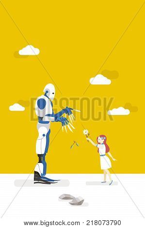 vector illustration about artificial intelligence and his risks. A little innocent girl interacts with a gardener robot and offers him a flower