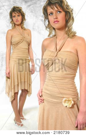 The Young Woman In Sleevless Dress Of Caramel Color With Sequinies.