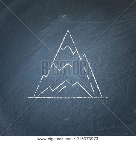 Ice mountain peak icon on chalkboard. Outline rock symbol - chalk drawing on blackboard.