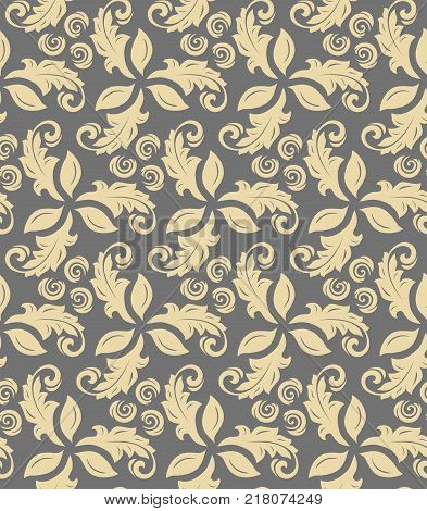 Floral vector ornament. Seamless abstract classic background with golden flowers. Pattern with repeating floral elements