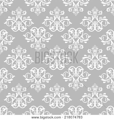 Orient vector classic white pattern. Seamless abstract background with vintage elements. Orient background